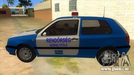 Volkswagen Golf 3 Police pour GTA San Andreas laissé vue