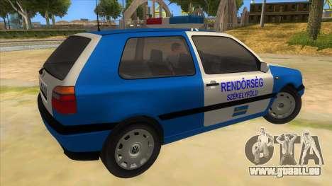 Volkswagen Golf 3 Police pour GTA San Andreas vue de droite