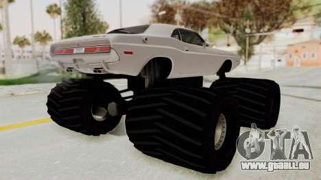 Dodge Challenger 1970 Monster Truck pour GTA San Andreas laissé vue
