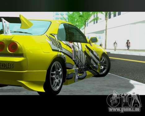 Nissan R33 GT-R Tunable pour GTA San Andreas sur la vue arrière gauche