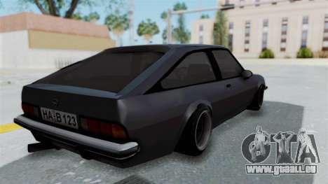 Opel Manta B1 CC pour GTA San Andreas laissé vue