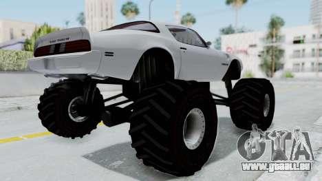 Pontiac Firebird Trans Am Monster Truck 1980 für GTA San Andreas zurück linke Ansicht