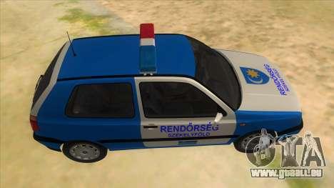 Volkswagen Golf 3 Police für GTA San Andreas Innenansicht