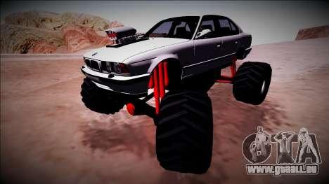 BMW M5 E34 Monster Truck für GTA San Andreas obere Ansicht