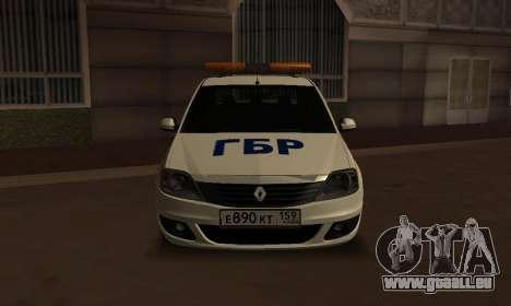 Renault Logan Security Service für GTA San Andreas zurück linke Ansicht