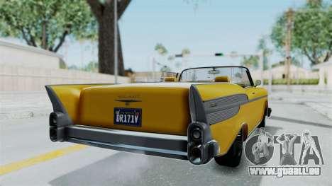 GTA 5 Declasse Tornado Bobbles and Plaques IVF pour GTA San Andreas sur la vue arrière gauche