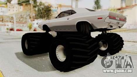 Dodge Challenger 1970 Monster Truck für GTA San Andreas rechten Ansicht