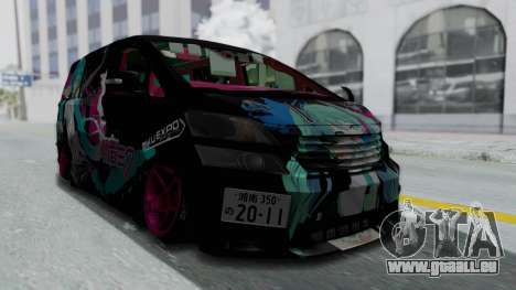 Toyota Vellfire Miku Pocky Exhaust Final Version für GTA San Andreas