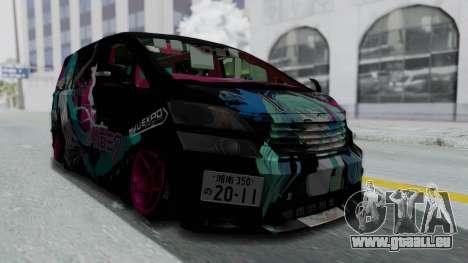 Toyota Vellfire Miku Pocky Exhaust Final Version pour GTA San Andreas