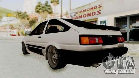 Toyota AE86 Sprinter Trueno pour GTA San Andreas laissé vue