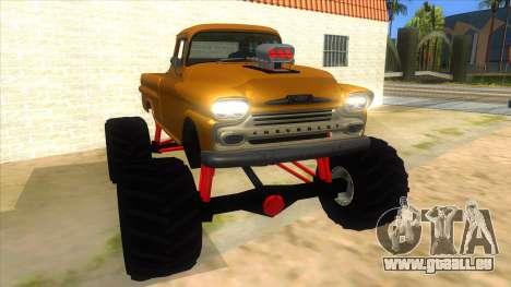 1958 Chevrolet Apache Monster Truck für GTA San Andreas Rückansicht