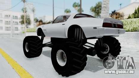 Pontiac Firebird Trans Am Monster Truck 1980 pour GTA San Andreas laissé vue
