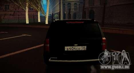 2015 Chevrolet Suburban Staatsanwaltschaft für GTA San Andreas zurück linke Ansicht
