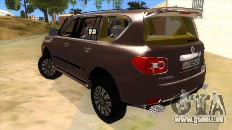 Nissan Patrol 2016 pour GTA San Andreas sur la vue arrière gauche