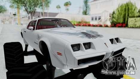 Pontiac Firebird Trans Am Monster Truck 1980 für GTA San Andreas Rückansicht
