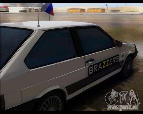 VAZ 2108 Militaires Classiques pour GTA San Andreas sur la vue arrière gauche