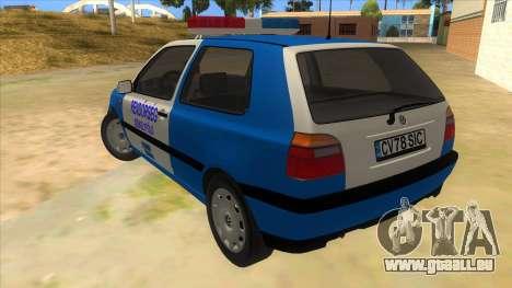 Volkswagen Golf 3 Police pour GTA San Andreas sur la vue arrière gauche
