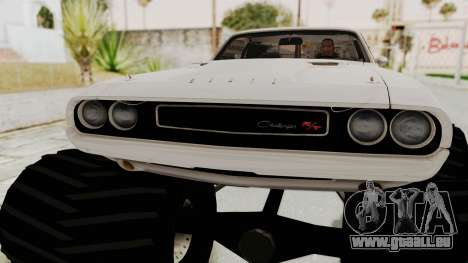 Dodge Challenger 1970 Monster Truck pour GTA San Andreas vue arrière