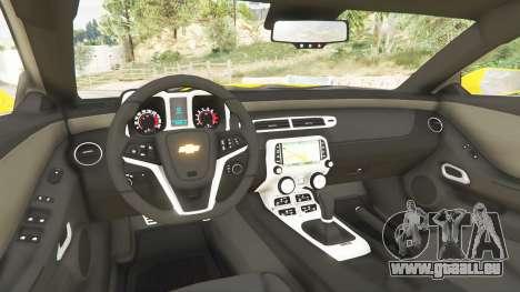 GTA 5 Chevrolet Camaro SS 2014 v1.1 arrière droit vue de côté