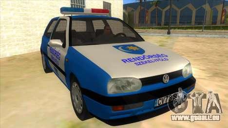 Volkswagen Golf 3 Police für GTA San Andreas Rückansicht
