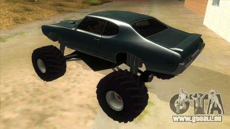 1969 Pontiac GTO Monster Truck pour GTA San Andreas sur la vue arrière gauche