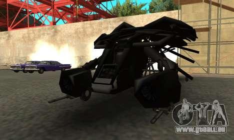 The Dark Knight Rises BAT v1 pour GTA San Andreas sur la vue arrière gauche