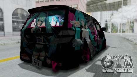 Toyota Vellfire Miku Pocky Exhaust Final Version pour GTA San Andreas laissé vue