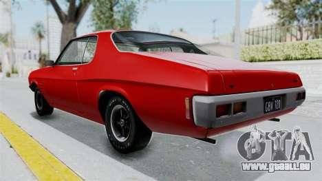 Holden Monaro GTS 1971 AU Plate HQLM pour GTA San Andreas sur la vue arrière gauche