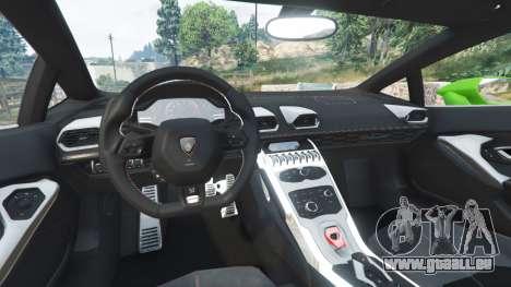 GTA 5 Lamborghini Huracan LP 610-4 2016 arrière droit vue de côté
