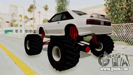 Ford Mustang 1991 Monster Truck pour GTA San Andreas laissé vue