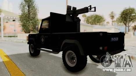 Land Rover Defender SAJ pour GTA San Andreas laissé vue