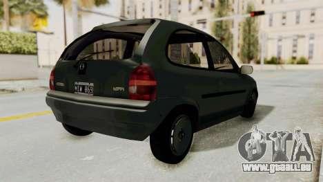 Chevrolet Corsa pour GTA San Andreas sur la vue arrière gauche