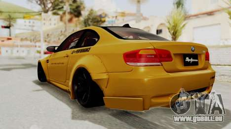 BMW M3 E92 Liberty Walk pour GTA San Andreas laissé vue
