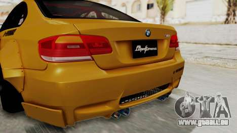 BMW M3 E92 Liberty Walk pour GTA San Andreas vue de dessous
