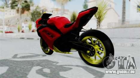 Kawasaki Ninja 250FI Anak Jalanan pour GTA San Andreas sur la vue arrière gauche