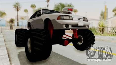 Ford Mustang 1991 Monster Truck pour GTA San Andreas vue de droite