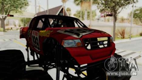 Pastrana 199 Monster Truck für GTA San Andreas Rückansicht