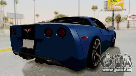 Chevrolet Corvette C6 pour GTA San Andreas vue de droite