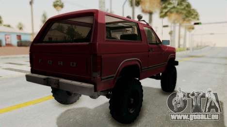 Ford Bronco 1985 Lifted für GTA San Andreas linke Ansicht