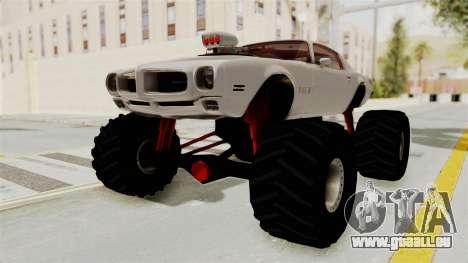 Pontiac Firebird 1970 Monster Truck pour GTA San Andreas sur la vue arrière gauche