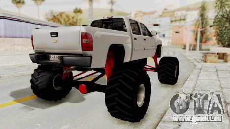Chevrolet Silverado 2011 Monster Truck pour GTA San Andreas laissé vue