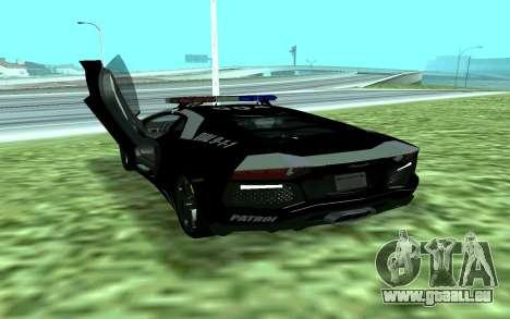 Lamborghini Reventon Police für GTA San Andreas zurück linke Ansicht