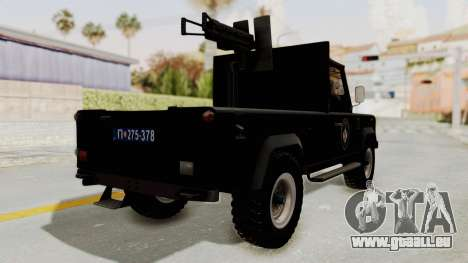 Land Rover Defender SAJ pour GTA San Andreas sur la vue arrière gauche