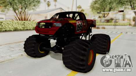 Pastrana 199 Monster Truck für GTA San Andreas zurück linke Ansicht