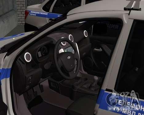 Lada Granta de la sécurité Privée pour GTA San Andreas sur la vue arrière gauche