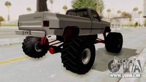 Chevrolet Silverado Classic 1985 Monster Truck pour GTA San Andreas sur la vue arrière gauche