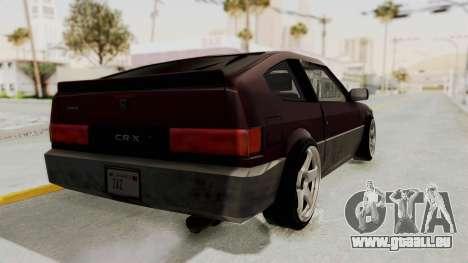 Blista CRX für GTA San Andreas zurück linke Ansicht