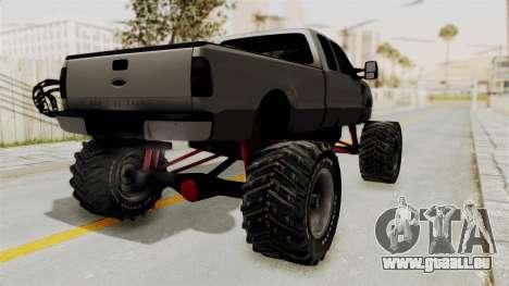 Ford F-350 Super Duty Monster Truck für GTA San Andreas zurück linke Ansicht