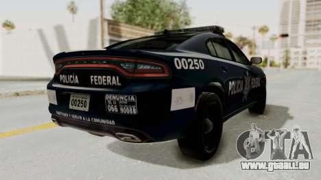 Dodge Charger RT 2016 Federal Police für GTA San Andreas zurück linke Ansicht