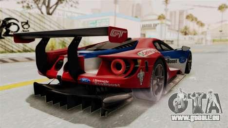 Ford GT 2016 LM pour GTA San Andreas sur la vue arrière gauche